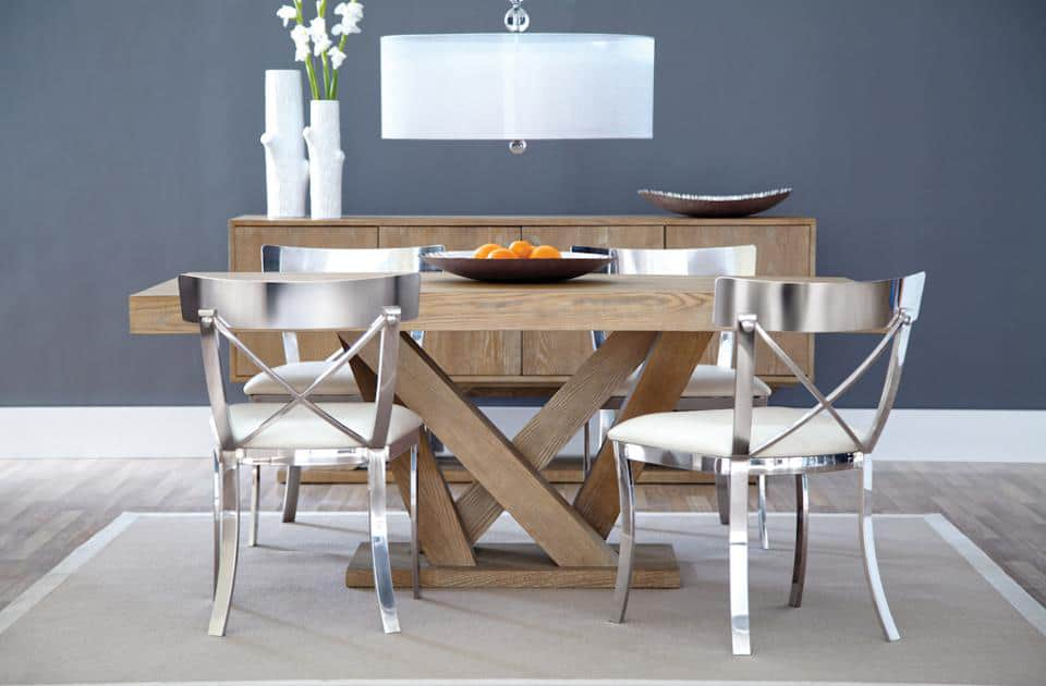 Sunpan madero dining table big style for small spaces for Big table small dining room