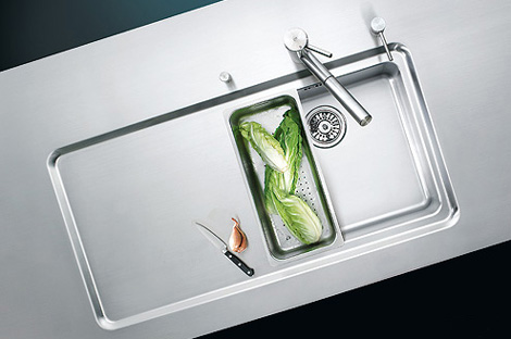 Suter counter integrated kitchen sink with drainer