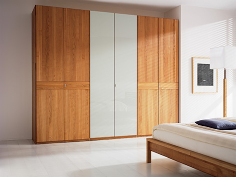 team 7 valore wardrobe cherry solid wood white glass