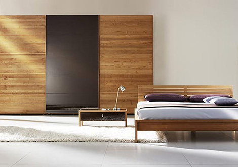 team 7 valore wardrobe cherry wood sliding doors Solid Wood Wardrobe by Team 7   Valore sliding door wardrobes are green
