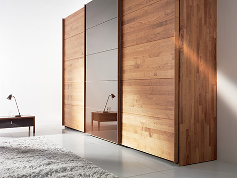 team 7 valore wardrobe cherry wood Solid Wood Wardrobe by Team 7   Valore sliding door wardrobes are green