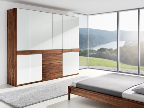 team 7 valore wardrobe walnut solid wood white glass