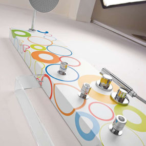 Custom Graphic Shower Panels by TEDA – Why Only White (WOW) collection