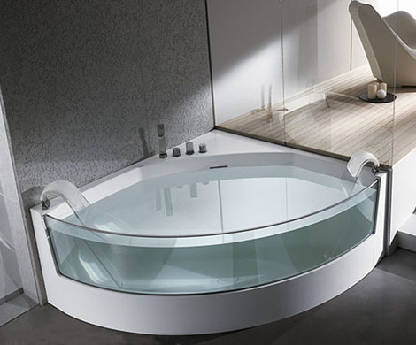 teuco bathtub view 1 Clear sided Bathtub from Teuco: gorgeous View whirlpool bathtubs with glass panels