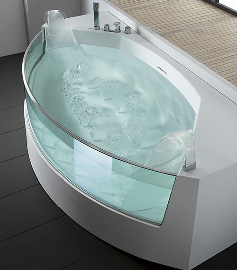 teuco bathtub view 3 Clear sided Bathtub from Teuco: gorgeous View whirlpool bathtubs with glass panels