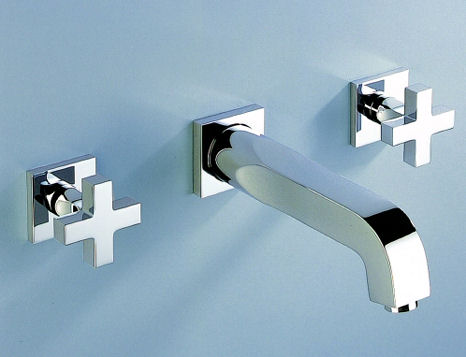thg beluga cross handle wall mount bath faucet New THG Paris Beluga contemporary faucet line