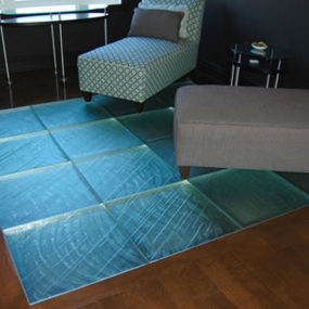 Glass tile floor from ThinkGlass – walking on glass is a new experience