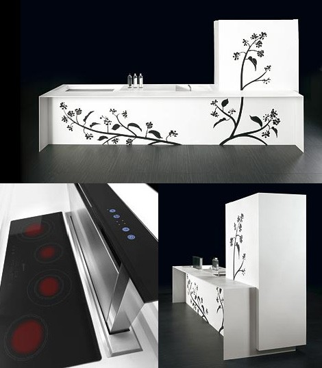 tm italia decorative kitchen touch tatoo Decorative Kitchen from TM Italia   Touch Tatoo with bold floral pattern and touch controlled drawers