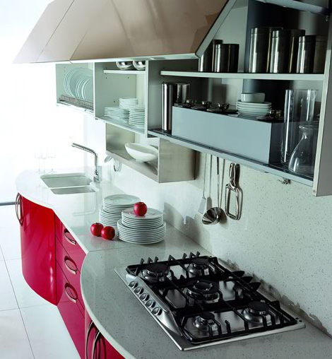 tomassi cucine kitchen andromeda curved detail
