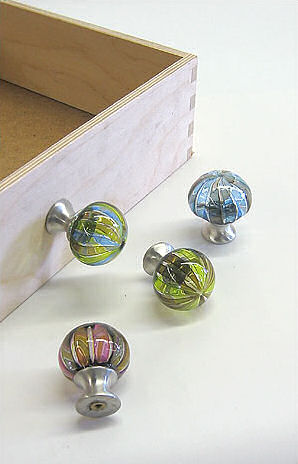 Glass drawer pulls by Tracy Glover Decorative handblown drawer