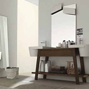 Twin Sink Vanity Units in solid oak by Novello