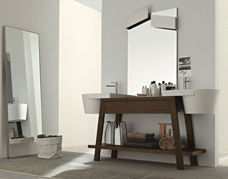 twin sink vanity units solid oak novello canestro 1 Twin Sink Vanity Units in solid oak by Novello