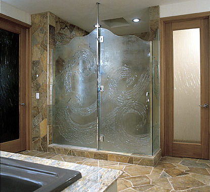 ultra glas wave shower door Glass Shower Doors   artistic custom doors by UltraGlas
