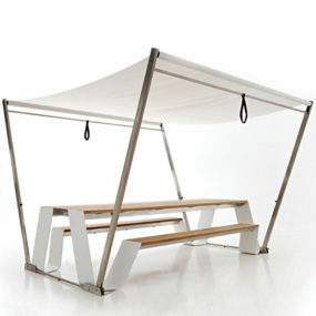 Unique Patio Tables with Sunshade by Extremis