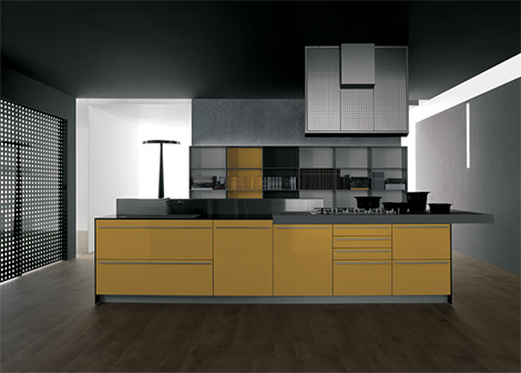 100% recyclable kitchen – Valcucine Artematica Vitrum Yellow Kitchen