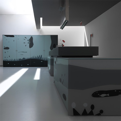 Valcucine Arte kitchen shown from the side