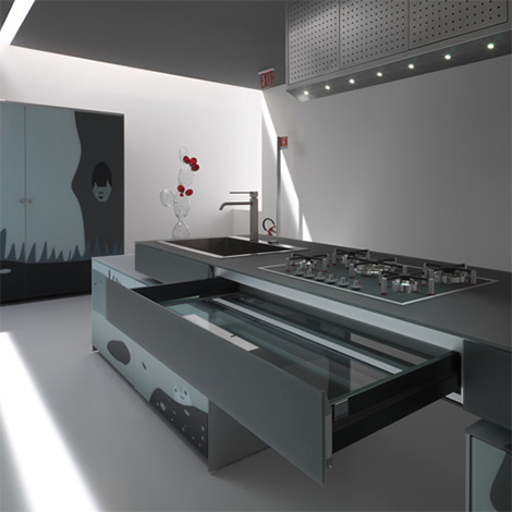 valcucine artematica vitrum arte kitchen cooktop Two Most Unusual Modern Kitchens   Valcucine Artematica Vitrum Arte Kitchen and Eggersmann Memfizz Kitchen