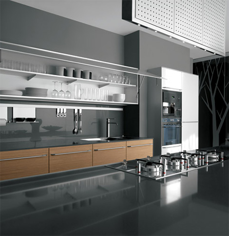 valcucineartematicakembalwall New Kitchens by Valcucine   Artematica Kembal and Artematica Juglans modern kitchens