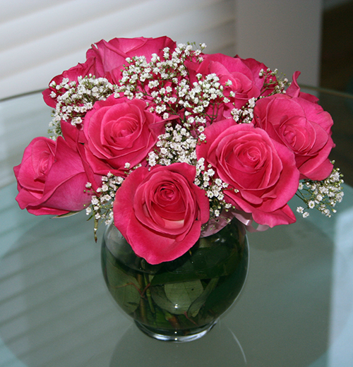 valentines pink roses bouquet 9