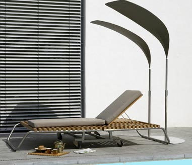 valeur fiji palm sunshade with foot Outdoor furniture from Valeur   Fiji Stainless Steel / Teak furniture
