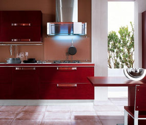 Bamboo Kitchen from Veneta Cucine – Extra Avant in Red Matt Bamboo
