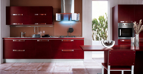 Bamboo Kitchen from Veneta Cucine - Extra Avant in Red Matt Bamboo