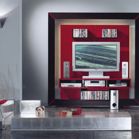 Modern Entertainment Center in a frame from Vismara Design – luxury high-end TV stand