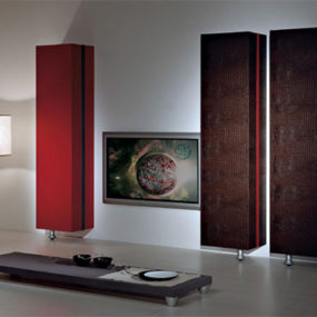 Luxury Entertainment Center from Vismara – leather upholstered wall units