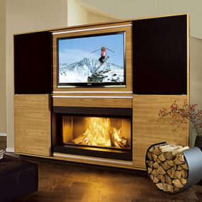 Multimedia Fireplace by Vok – combination of fireplace, television, music!