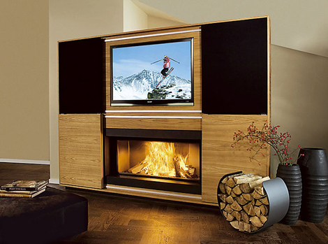 vok multimedia fireplace 1 Multimedia Fireplace by Vok   combination of fireplace, television, music!