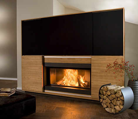 vok multimedia fireplace 2 Multimedia Fireplace by Vok   combination of fireplace, television, music!