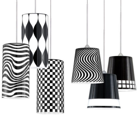 wac black white long pendants Black & White Quick Connect pendants from W.A.C. Lighting   cut glass pendants