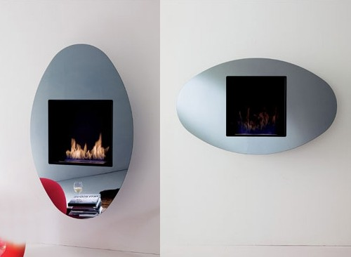 Decoflame Ellipse Flueless Fire: Wall Hanging Ethanol Fireplace OVO By Ozzio