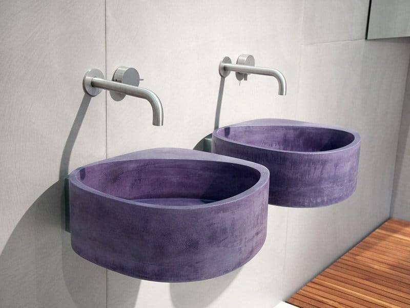 Wall Hung Concrete Sink in Purple by Moab 80