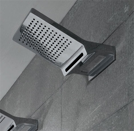 wall mounted showerhead with rain blade jets and light Timeless Chrome Faucets by Zucchetti Kos Faraway Bathroom Collection
