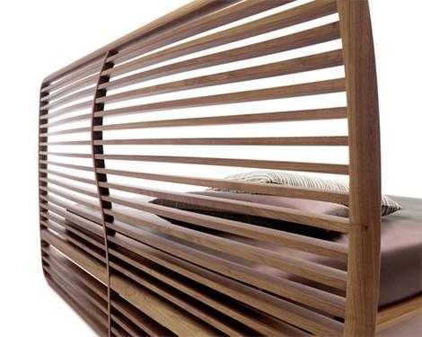 walnut bed curved headboard ceccotti collezioni