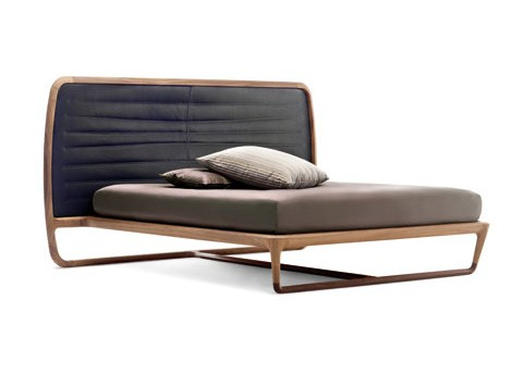 walnut bed leather headboard ceccotti collezioni
