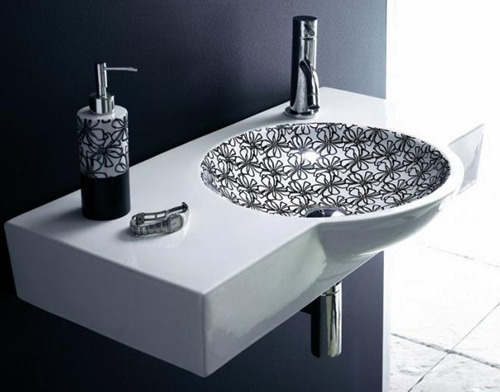 washbasins decorado bathco 1 Stylish Wash Basins in Black and White by Bathco