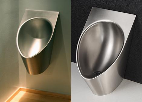waterless urinal stainless steel neo metro 2 Waterless Urinal in Stainless Steel   pink urinal by Neo Metro