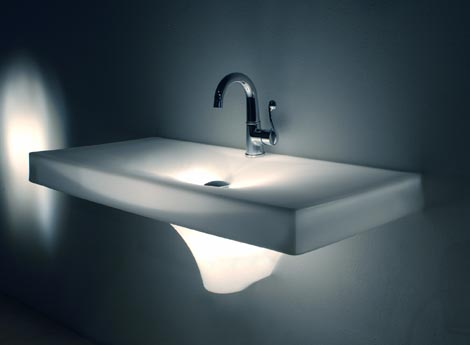 Glowing bathroom sink from Wet – new Meltdown sink – world's first multimedia sink