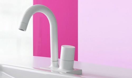 White Curved Faucet By Fima Fluid - White bathroom faucet fixtures