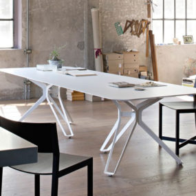 White Tripod Dining Table by Lema