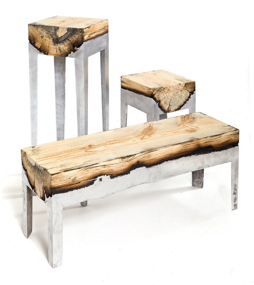 wood casting aluminum and wood furniture by hilla shamia 1