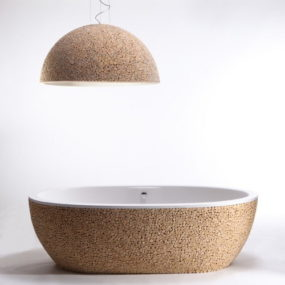 Wood Finish Bathtub by Bleu Nature: Baignoire Stone Pixel Tub
