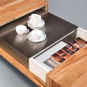Wooden Coffee Tables with sliding top and burner kit, by Schulte Design