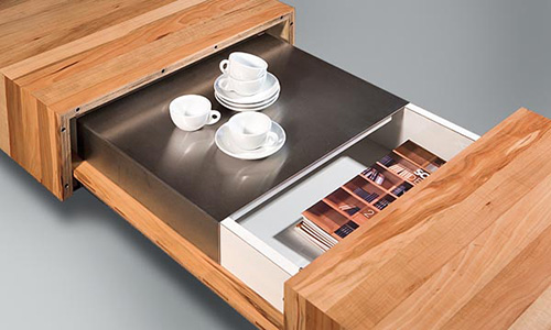 wooden coffee tables with sliding top and burner kit  by