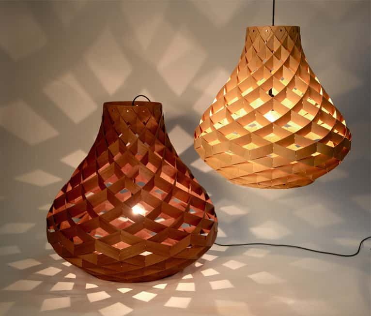 Woven Bamboo Veneer Pendant Lighting By Edward Linacre