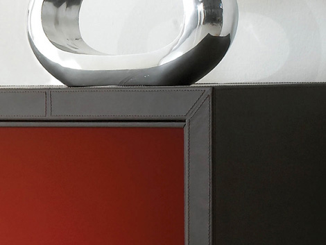 Yomei Base Cabinet leather and lacquer detail