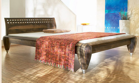 zack design bed sierra nova walnut wood Contemporary European Bed from Zack Design   Exotic Wood beds