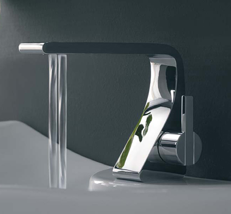 Bathroom faucet from zazzeri new rem has two water streams for Modern bathroom fixtures